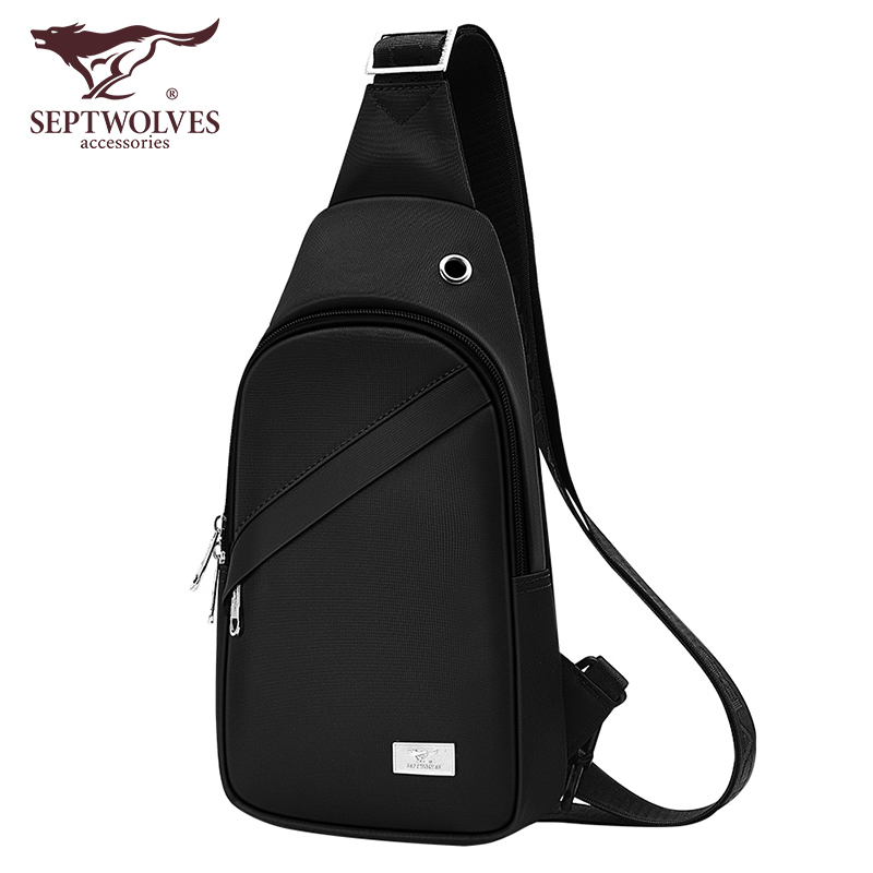Seven wolves chest bag men's casual diagonal all-match men's bag men's canvas shoulder bag messenger bag small men's bag