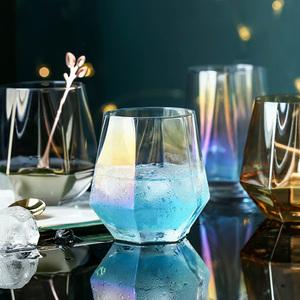 WUXIN炫彩棱口威士忌酒杯钻石杯水晶玻璃创意个性潮流白兰地烈酒