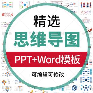 思维导图PPT模板 数据图表WORD可视化信息对比多边形大脑树图形状