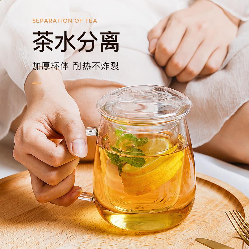 物生物过滤玻璃杯家用茶水分离泡茶杯网红女透明带把花茶水杯子