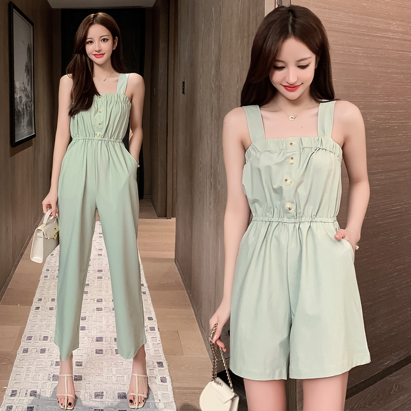 2020 new suspender Jumpsuit womens shorts summer Korean casual high waist loose skinny sleeveless Jumpsuit