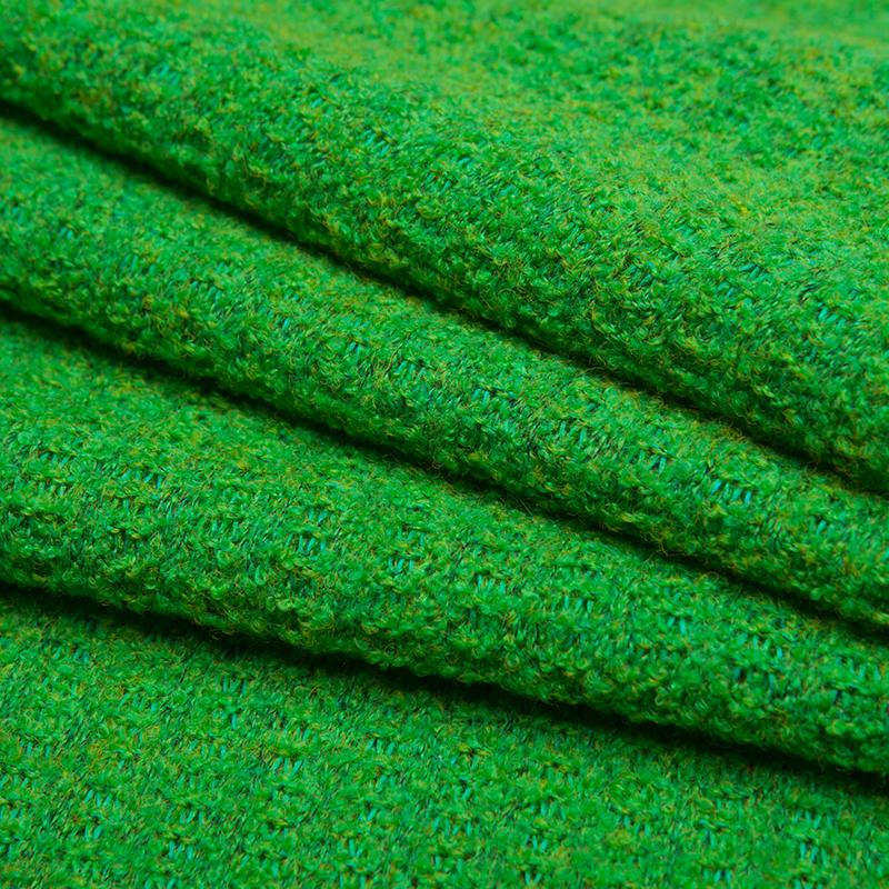 绿色浮萍 毛线布料面料秋冬保暖针织面料大衣外套服装面料