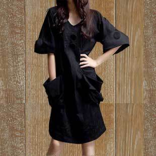 XL dress 14 summer Korean Slim V neck cotton long section of loose sleeve dress female version