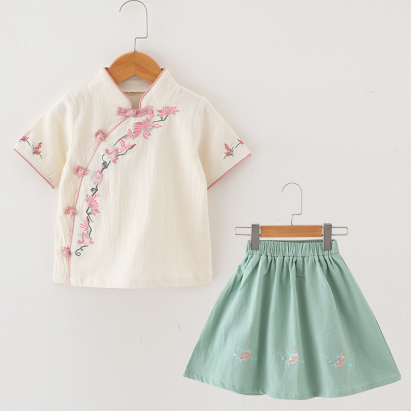 (用50元券)南央汉服女童夏装中国风儿童襦裙宝宝棉麻唐装小女孩古装短袖套装