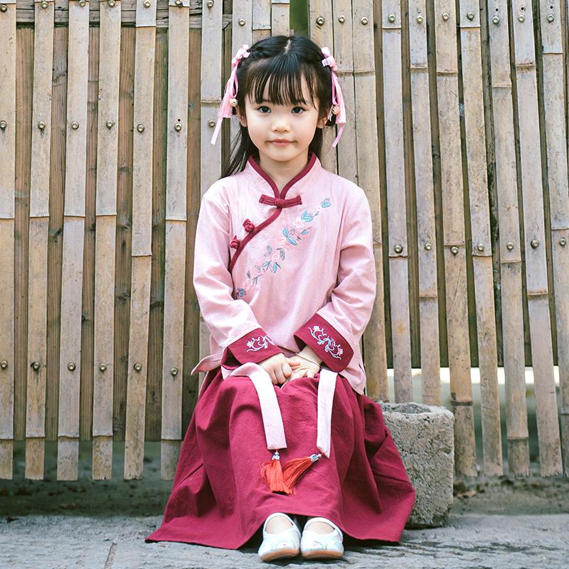 儿童汉服女童中国风唐装小女孩古装裙宝宝民国风套装亲子汉服秋装