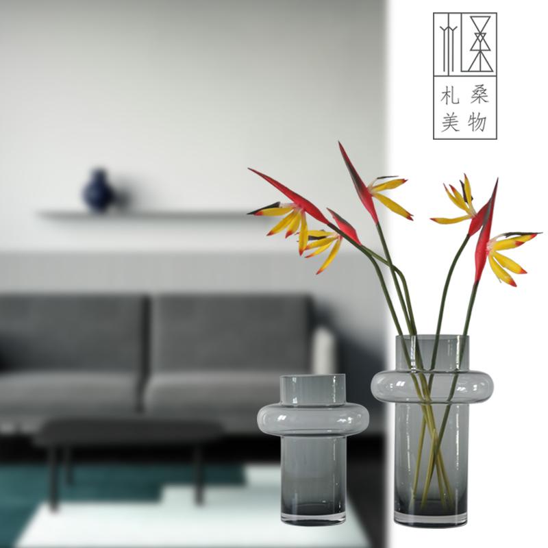 札桑美物北欧灰色小蛮腰玻璃花瓶ins家居软装插花客厅餐桌样板房