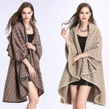 斗篷披肩女针织外套女装 大翻领提花毛衣开衫 欧美大码 不规则中长款