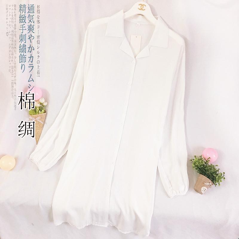 棉绸睡衣女春秋季纯棉白色薄款性感夏天长袖空调服中长款衬衫睡裙