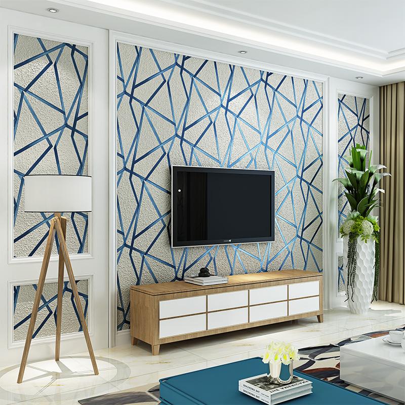 3d立体几何图形电视背景墙壁纸现代简约个性时尚线条客厅卧室墙纸