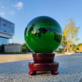 绿色水晶风水球桌面镇宅招财旺运旺事业珍藏绿幽灵客厅办公室摆件图片