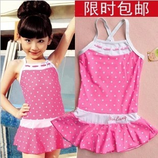 2015 Children s swimwear piece genuine resistance to wave triangle swimsuit girls skirt type bathing suit girl Korea