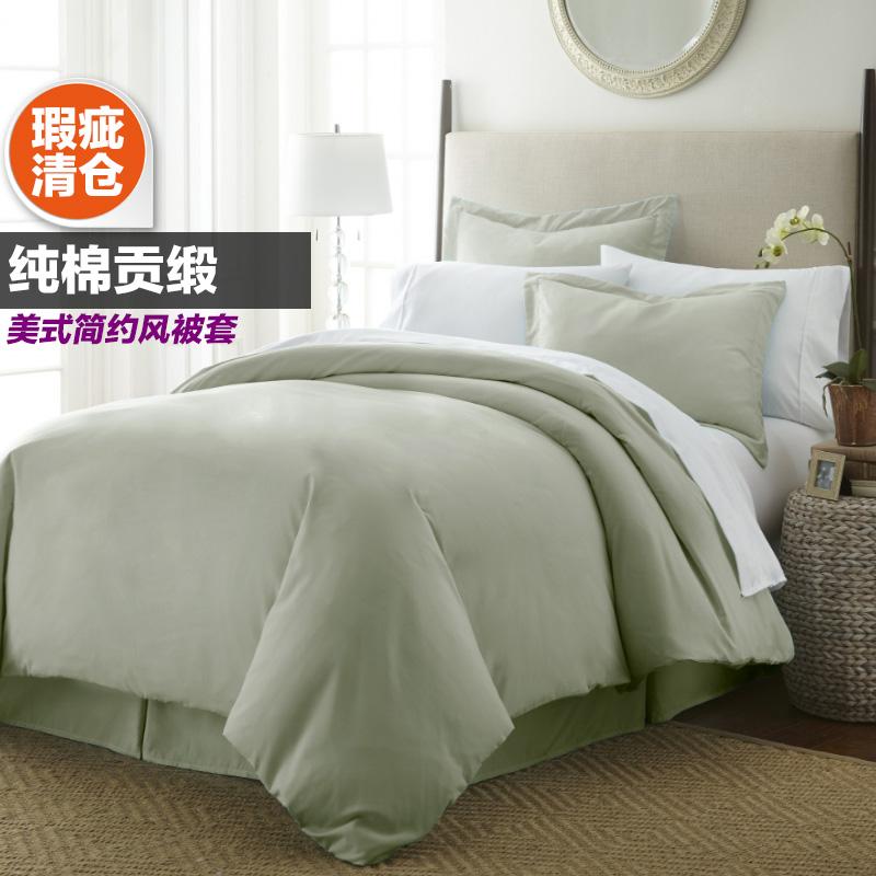 瑕疵纯棉贡缎被套高支全棉有绑带被罩缎条床上用品美式简约包邮