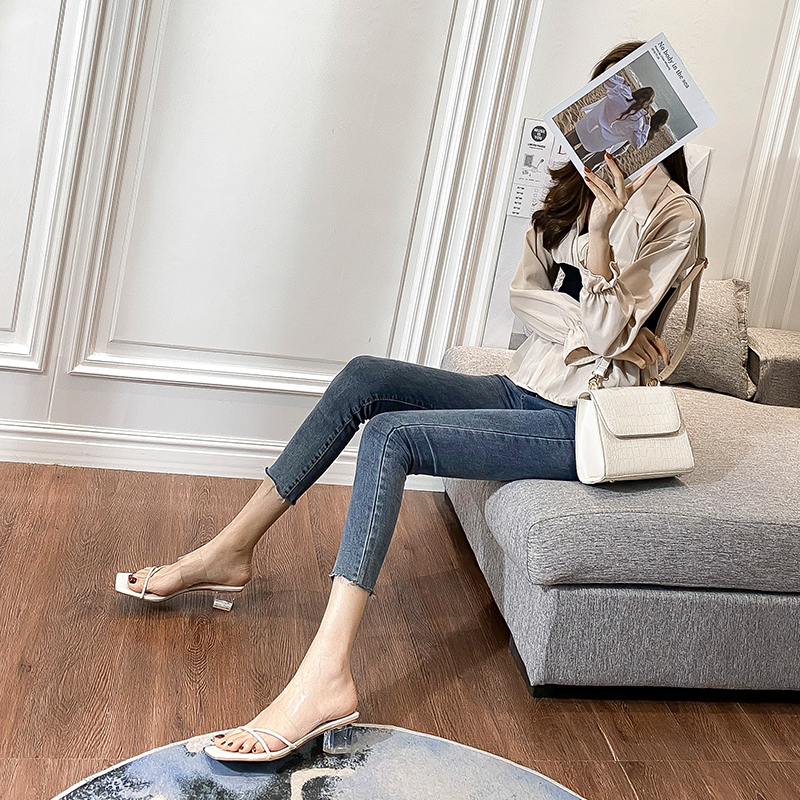 Little CK crystal heel transparent sandals womens 2020 new square head high heel thick heel middle heel clip toe drag strap versatile
