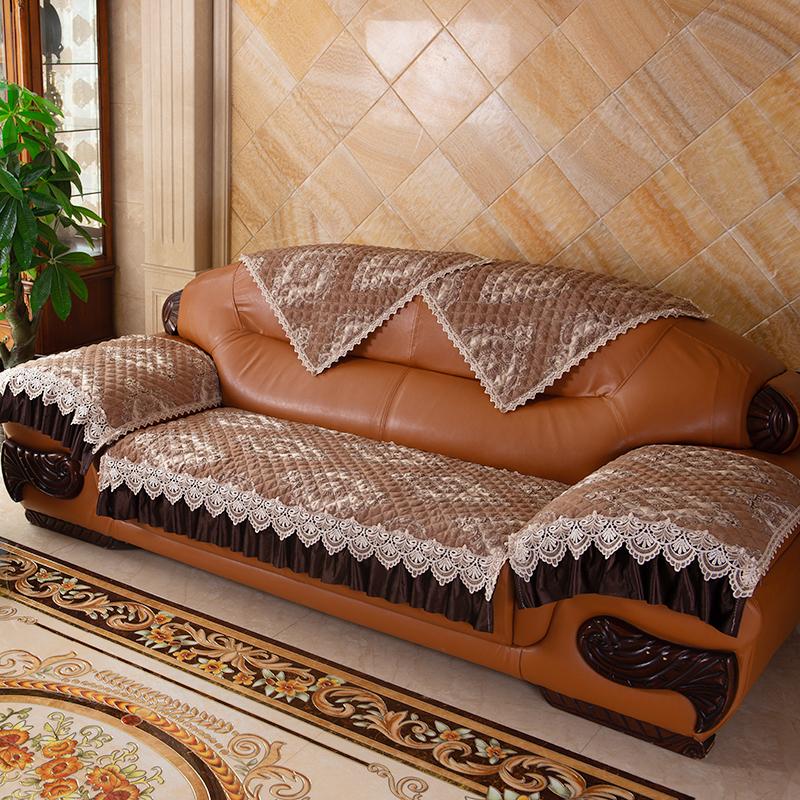 欧式真皮沙发垫套防滑四季雪尼尔罩