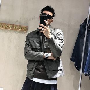 徐太浪春季美式工装皮夹克男潮流新品简约复古多口袋修身休闲外套
