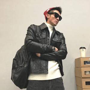 领5元券购买日系机车男士休闲皮夹克潮牌春秋修身韩版帅气皮衣新款外套夹克衫