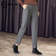 Woolen harem pants ladies autumn and winter woolen loose high waist nine pants 2018 new pipe small feet trousers
