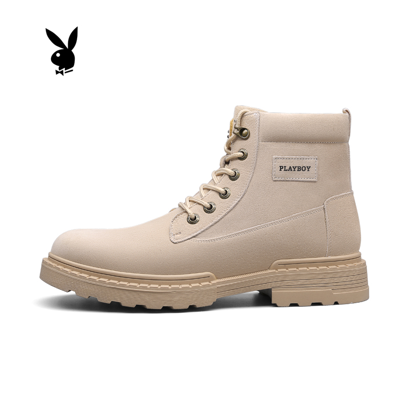 Playboy Martin boots mens winter high top British Plush warm boots tooling shoes mens versatile mens fashionable shoes