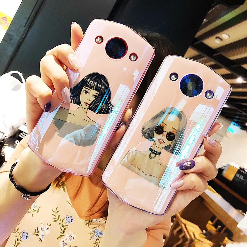 欧美风潮牌时尚女孩美图T8手机壳硅胶软套M8s创意蓝光m6女款粉色