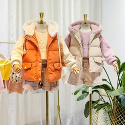 女童秋冬套装2020新款韩版中大童加厚棉袄马甲加绒卫衣洋气两件套