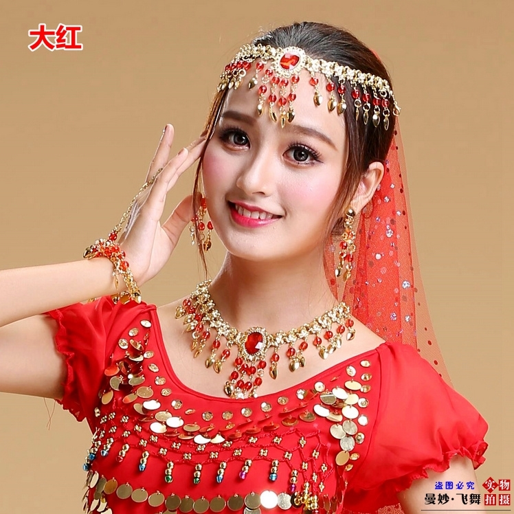 New Indian Dance Watch performance accessories colorful point belly dance Necklace dance accessories stage earrings bracelet head chain accessories