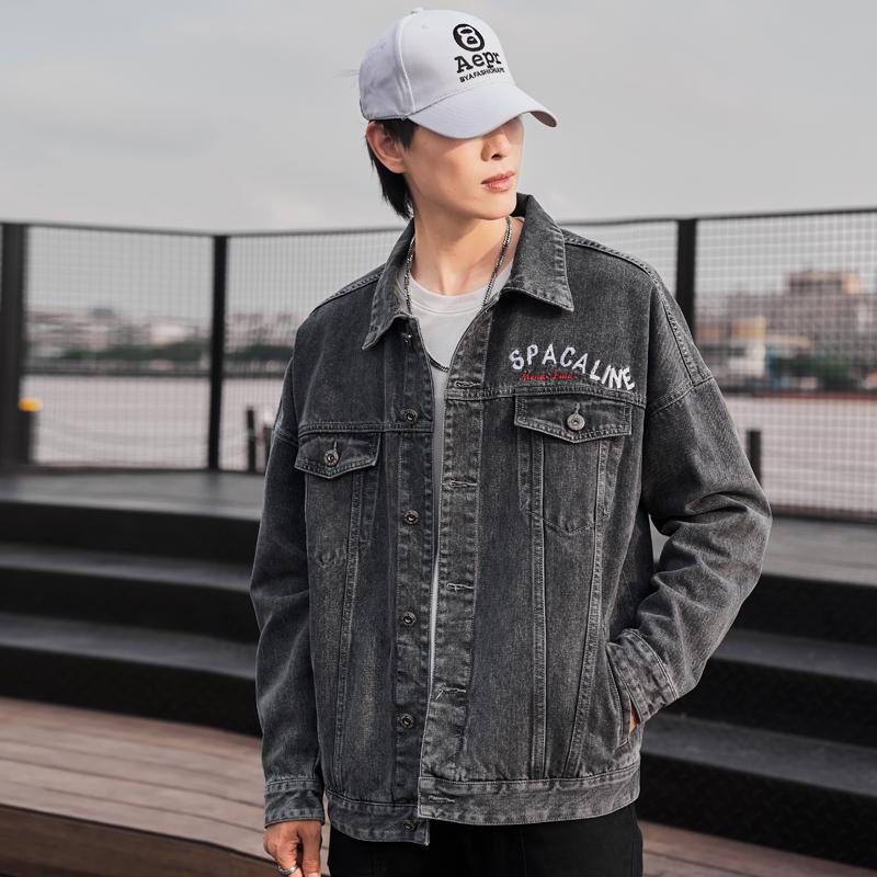 曼哈森2021春季刺绣牛仔外套男宽松韩版休闲潮流大码港风上衣夹克
