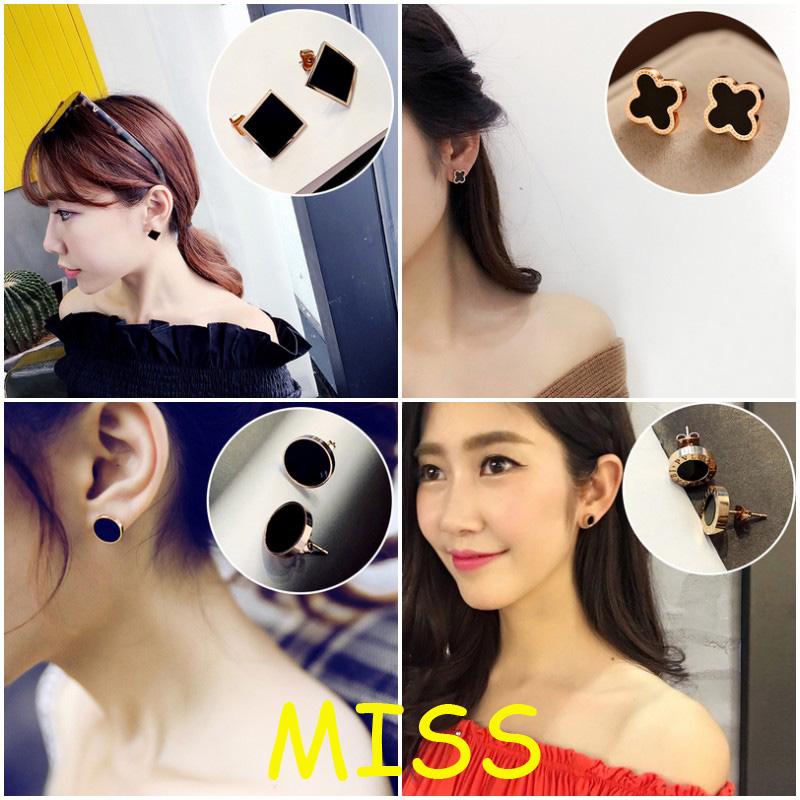 2017新款百搭个性时尚玫瑰金太钢耳环女士 韩版黑色钛金耳钉女士