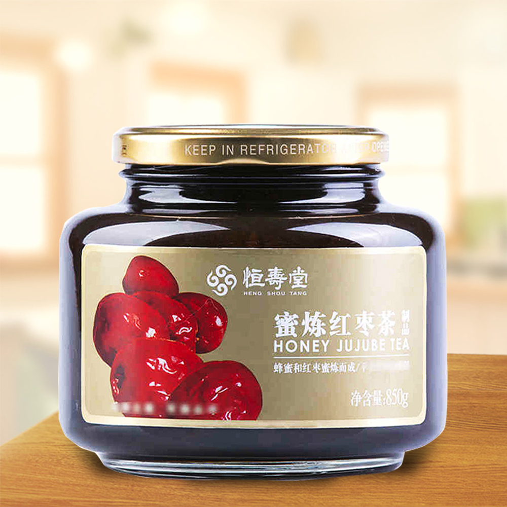 恒壽堂蜜煉紅棗茶蜂蜜香味果茶韓國風味滋補果醬衝飲飲料850g 瓶