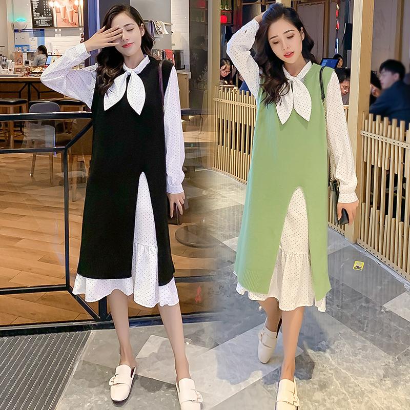 88.00元包邮2019新款毛衣套装裙牛油果绿两件套女秋装时尚轻熟小个子清新裙子