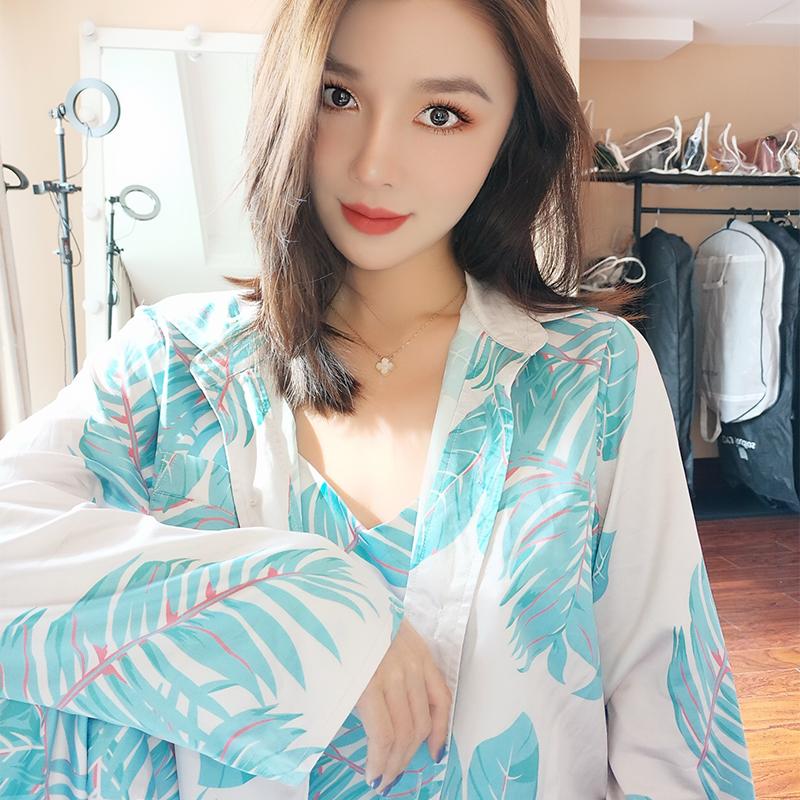 阳阳私服 蓝色缎面家居服百搭舒适睡衣三件套 衬衫吊带长裤套装女