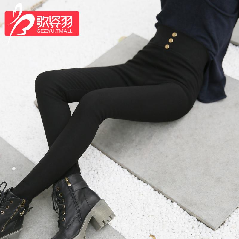 2018新款高腰打底�女外穿�@瘦春薄款�n版黑色九分小�_�U�P�夏季