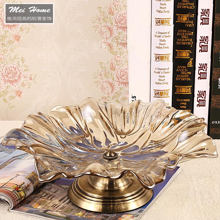奢华美式玻璃果盘欧式家居样板房软装饰品实用水晶玻璃水果盘大号