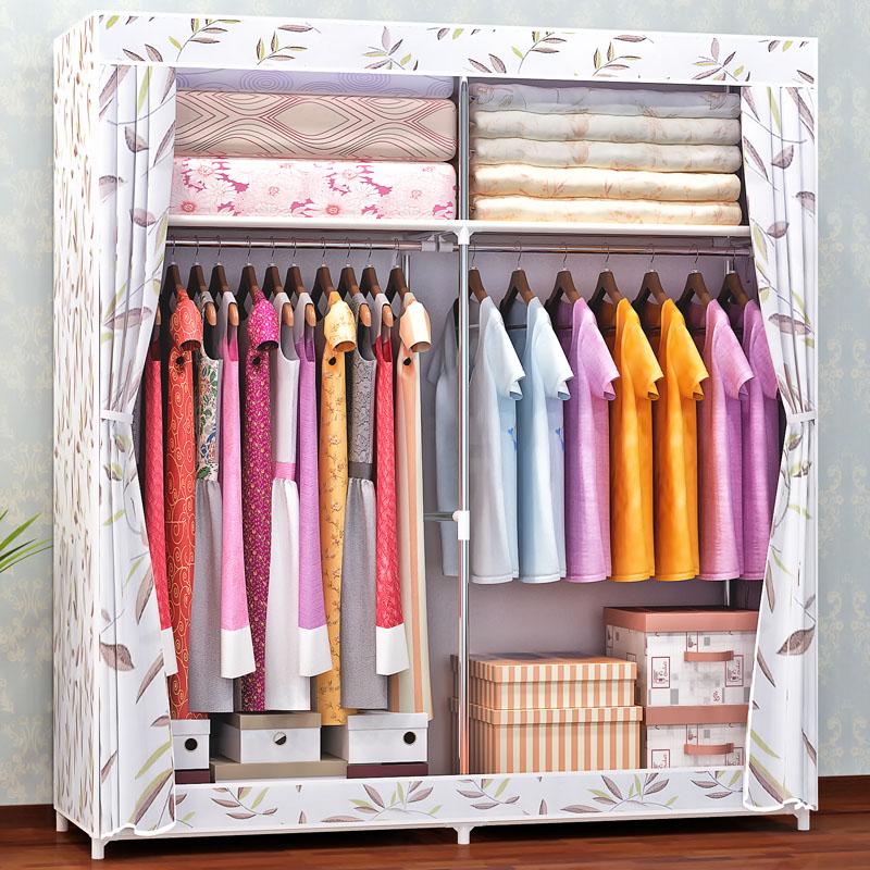 便捷拉链密封窗帘式布衣柜挂衣服柜子放被子简易衣柜简装大棉被柜