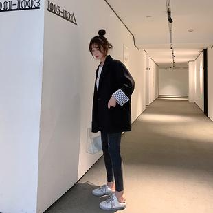 小西装外套女2019新款韩版春秋潮休闲网红西服套装英伦风黑色上衣图片