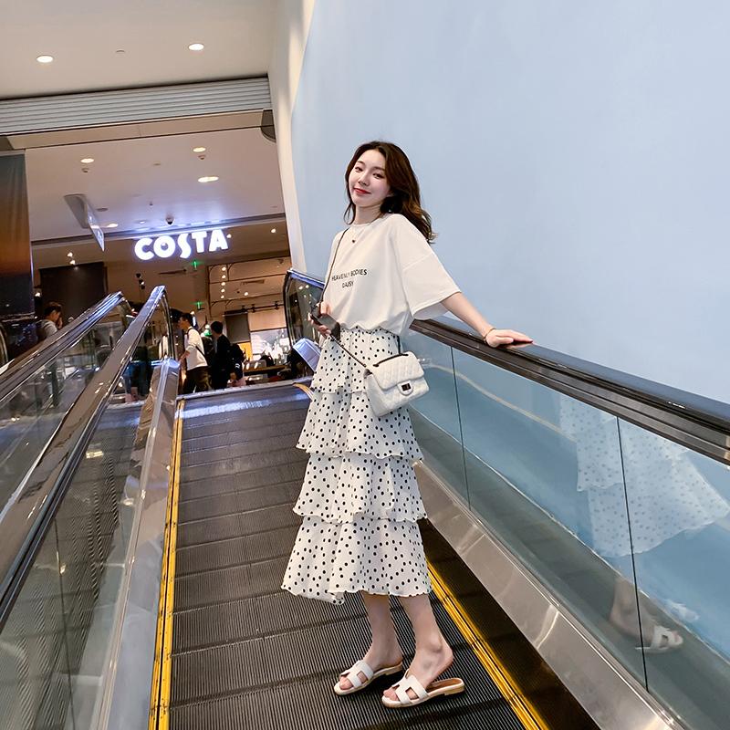 2020夏季新款韩版小清新法国超仙蛋糕裙仙女裙中长款波点半身裙女
