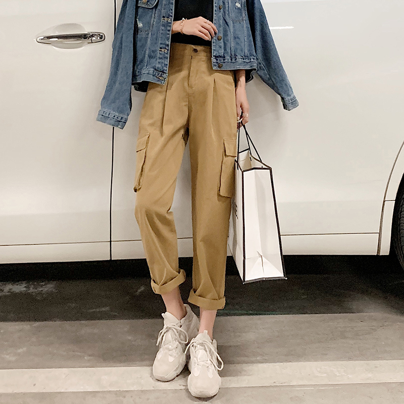 2019 Spring and summer Korean Edition New products Overalls handsome leisure time Easy pocket Paige Show thin Straight pantsin the Women's clothing/Boutique , Pants , Casual pants  category - from Buy2taobao.com to provide professional Taobao agent buy service