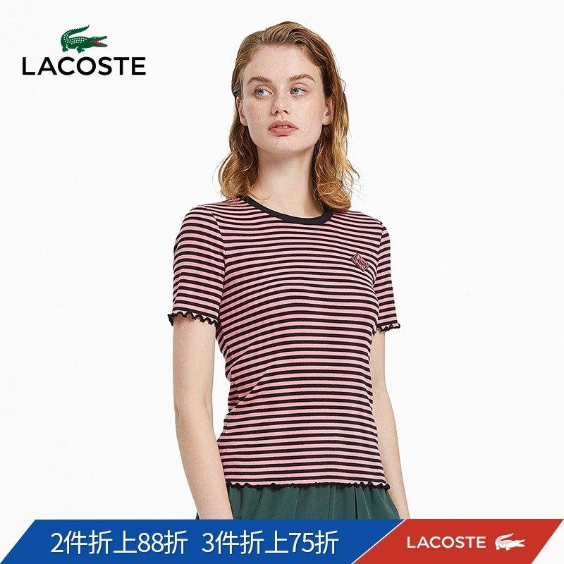 LACOSTE法国鳄鱼L!VE女士圆领修身条纹棉短袖T恤|TF3336M1
