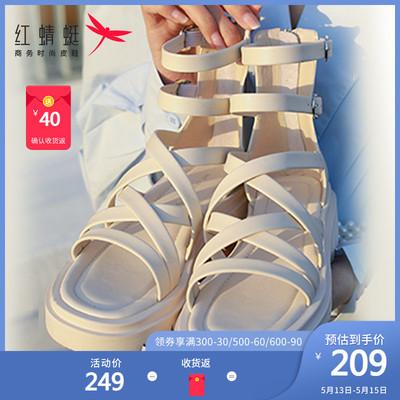 红蜻蜓女鞋2021年夏季新款高帮凉鞋女厚底防滑休闲鞋罗马风凉靴