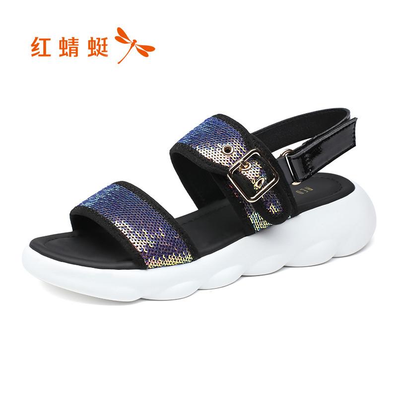 红蜻蜓女鞋2019夏季新款百搭凉鞋厚底松糕鞋魔术贴运动休闲凉鞋女