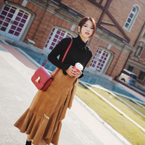 Yogurt pregnant women wear autumn and winter suede pregnant womens skirt Korean version lotus leaf side wrapping skirt a piece of retro