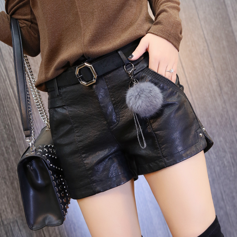 Leather pants womens shorts wear spring and autumn 2021 new high waist, slim and versatile, foreign style loose straight leather shorts