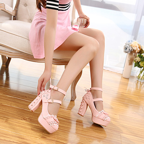 Sweet Japanese high heeled shoes large single shoes womens middle heel bow waterproof platform candy Princess Lolita shoes