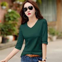 2021春装新款女装纯棉7分袖t恤女韩版宽松中袖外穿体恤上衣打底衫