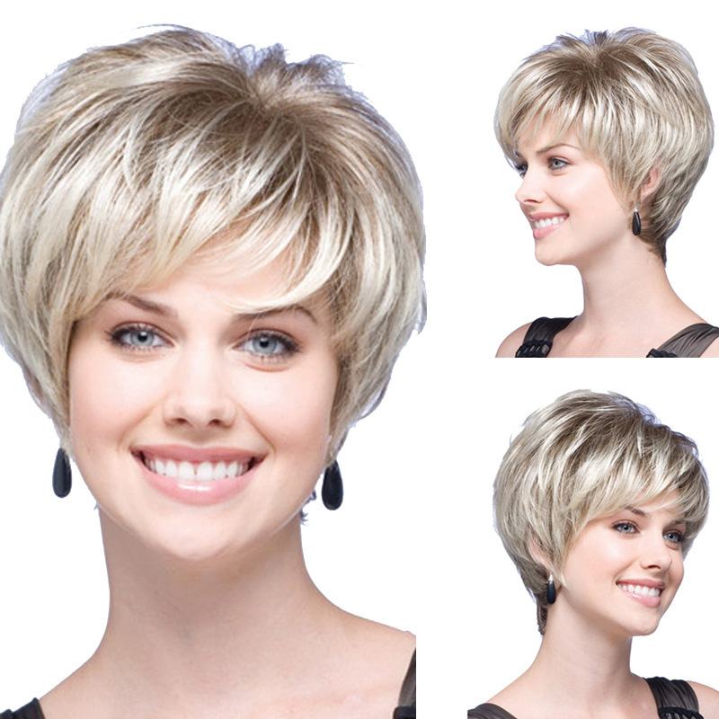Sumitong womens short straight hair, chemical fiber, European and American fashion color wig headwear is exclusively for wish manufacturers to wholesale