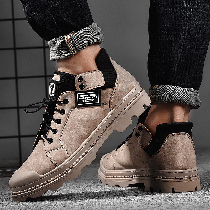 Autumn and winter mens short boots, cotton shoes, Martin boots, medium high top fashion, outdoor work clothes shoes, youth leisure, small leather boots trend