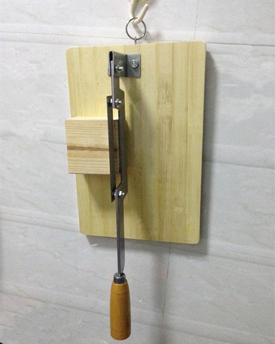 年糕刀 切片刀 切年糕阿胶药材竹板底坐 家用精巧小型年糕切片机