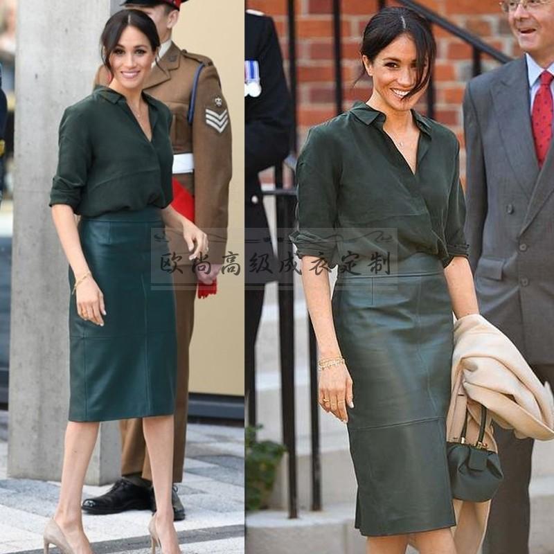高端定制梅根王妃同款墨绿色真丝衬衫+皮裙时尚OL名媛套装夏气质
