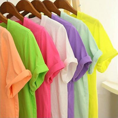 Корейский дамы email керлинг конфеты цветные твердые чистый хлопок короткий рукав t рубашка плюс Размер рубашки в конце t
