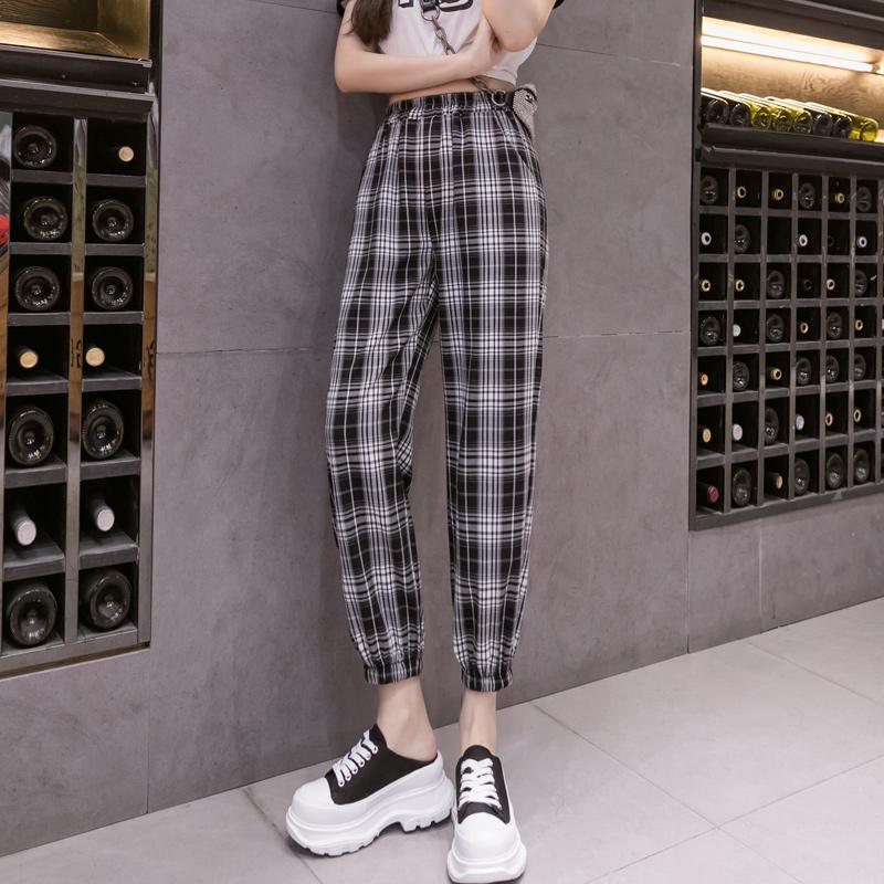 实拍女夏季薄款格子束脚工装裤2021新款显瘦高腰裤子超火ins潮