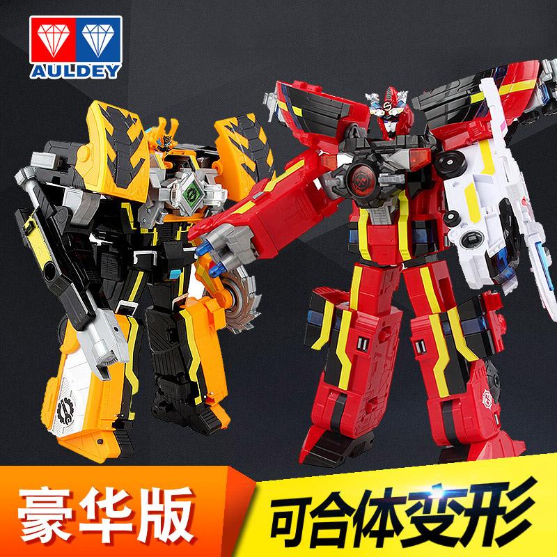 巨神战击队3豪华太阳旋天爆裂冲锋战机王2合体变形机器人男孩玩具